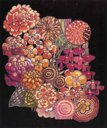 'Bouquet' textile design by Charles Rennie Mackintosh, produced in 1915.